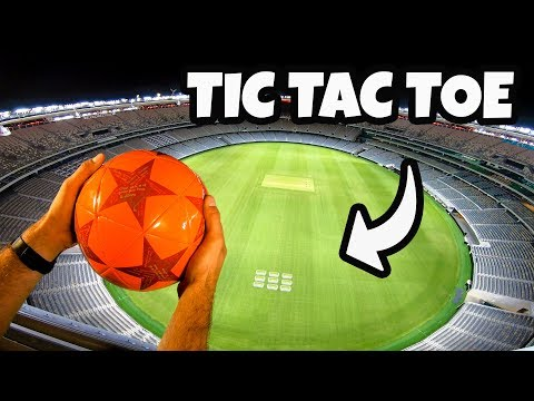 SOCCER TIC TAC TOE from STADIUM ROOF!