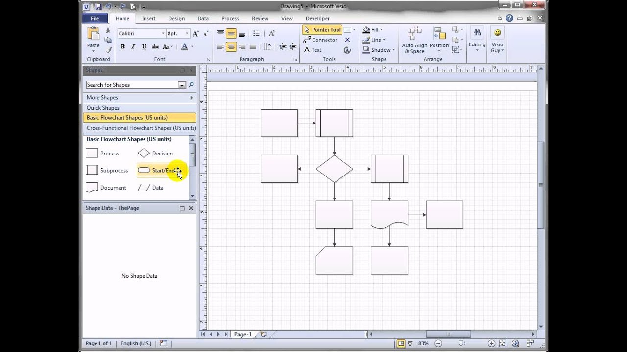 Shift visio 2010 flowchart shapes automatically youtube ccuart Gallery