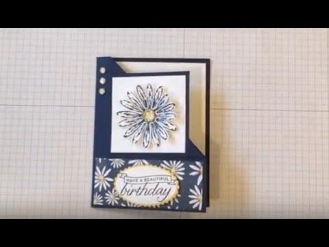 Corner Fold Delightful Daisy Birthday Card - YouTube