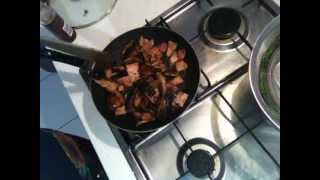 Mushrooms And Bacon In Oyster Sauce