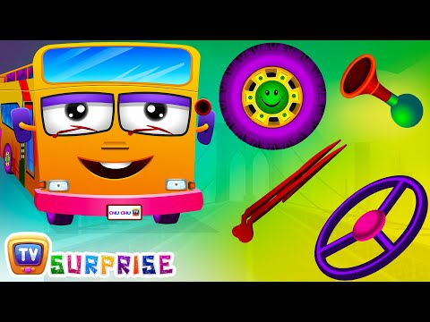 Видео: Surprise Eggs Nursery Rhymes  Wheels On The Bus  Learn Colours  Parts of the Bus  ChuChu TV