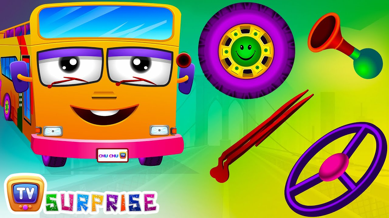 Surprise Eggs Nursery Rhymes   Wheels On The Bus   Learn Colours & Parts of the Bus   ChuChu TV