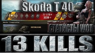 Škoda T 40 13 ФРАГОВ. СТАТИСТЫ World of Tanks. Лайв Окс - лучший бой Škoda T 40 WoT.