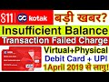 Kotak Bank Big Updates Insufficient Fund Translation Charge Virtual+Physical Debit Card ||April 2019