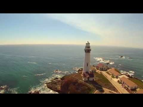 Big Sur Drone Shot of Pigeon Point Lighthouse and the Bixby Bridge