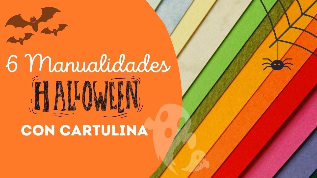 💀 6 Manualidades para Halloween con cartulina fáciles (Incluye moldes)