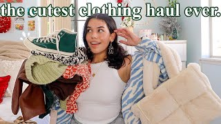 an extremely *cute & aesthetic* clothing haul try-on