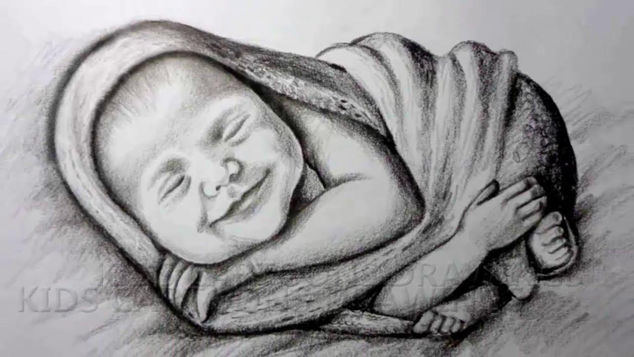 Pencil Sketch Full Video / Cute Baby beautiful Smile in ...