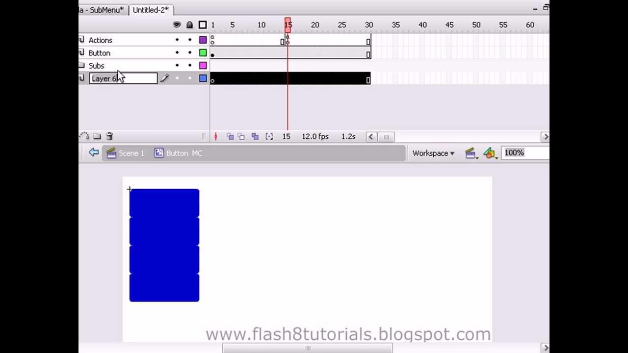 menu desplegable flash cs3