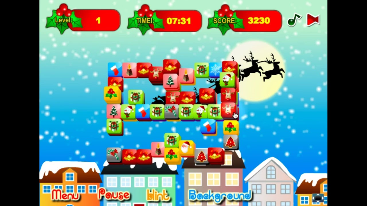 Christmas Mahjong.Christmas Mahjong Gameplay Walkthrough Web Browser