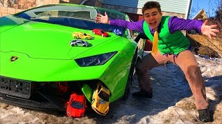 Mr. Joe on Lamborghini Huracan Performance VS A LOT OF Toy Cars in Wheel Car for Kids