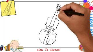 How to draw a violin EASY step by step for kids, beginners, children 1
