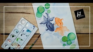 Fish in Pond | Water Color Painting | Drawing Tutorial