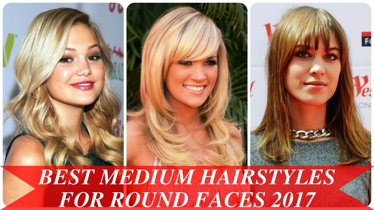 best medium hairstyles for round faces 2017 - youtube