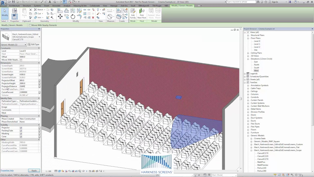 12mm Multiplex Harkness Screens Cinema Screen Family Revit Content