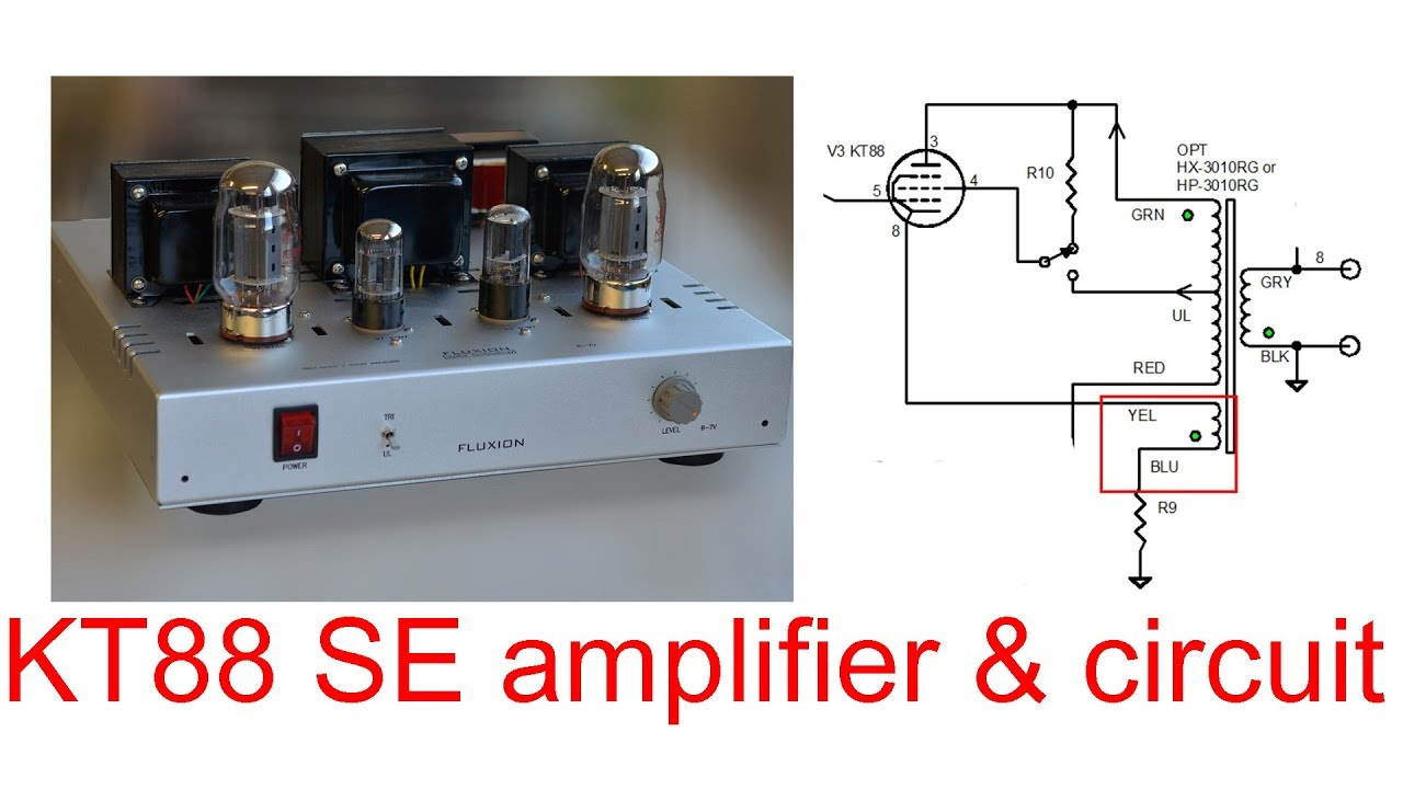 KT88 SE tube amplifier circuit, triode Ultra Linear switchable, 10 W by  single ended circuit design