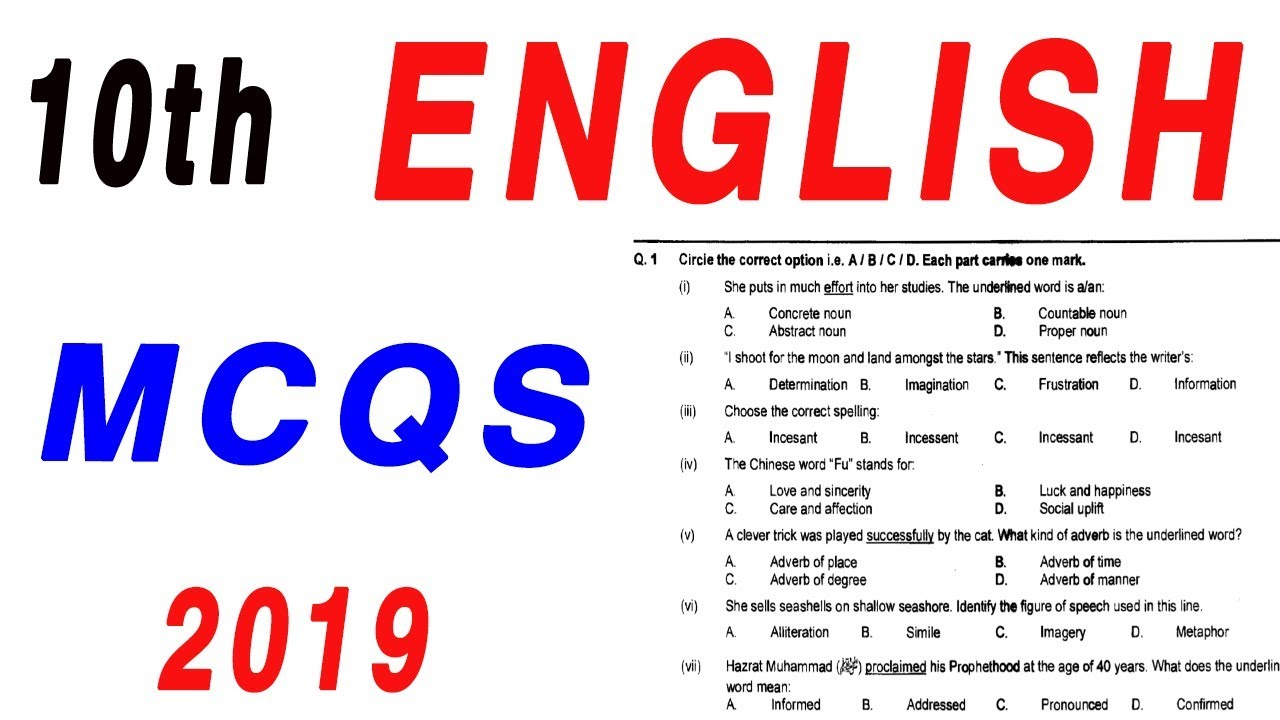 English Guess Paper 9th Class 2020   English Guess paper