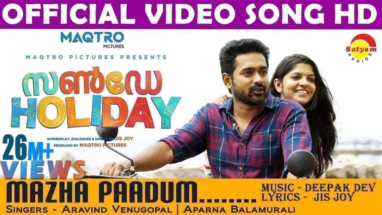 mazha-paadum-official-video-song-hd-sunday-holiday-asif-ali-aparna-balamurali-satyamvideos