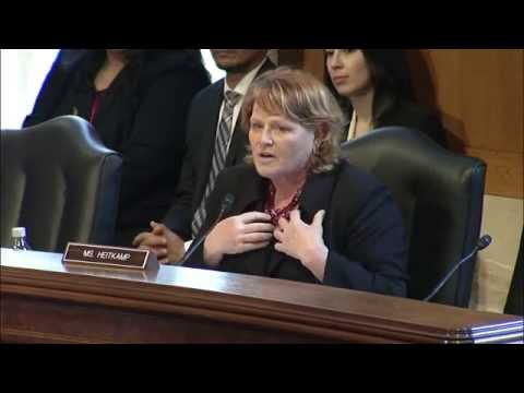 Heitkamp Questions Senator Byron Dorgan at Indian Affairs Committee Hearing