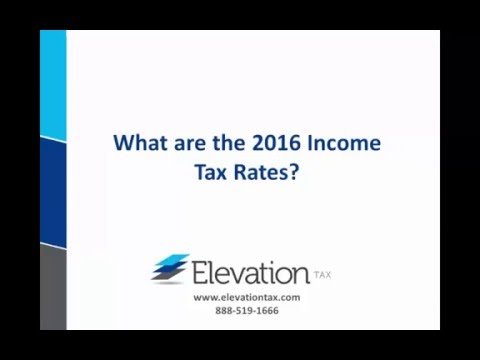 2016 Income Tax Brackets and Rates