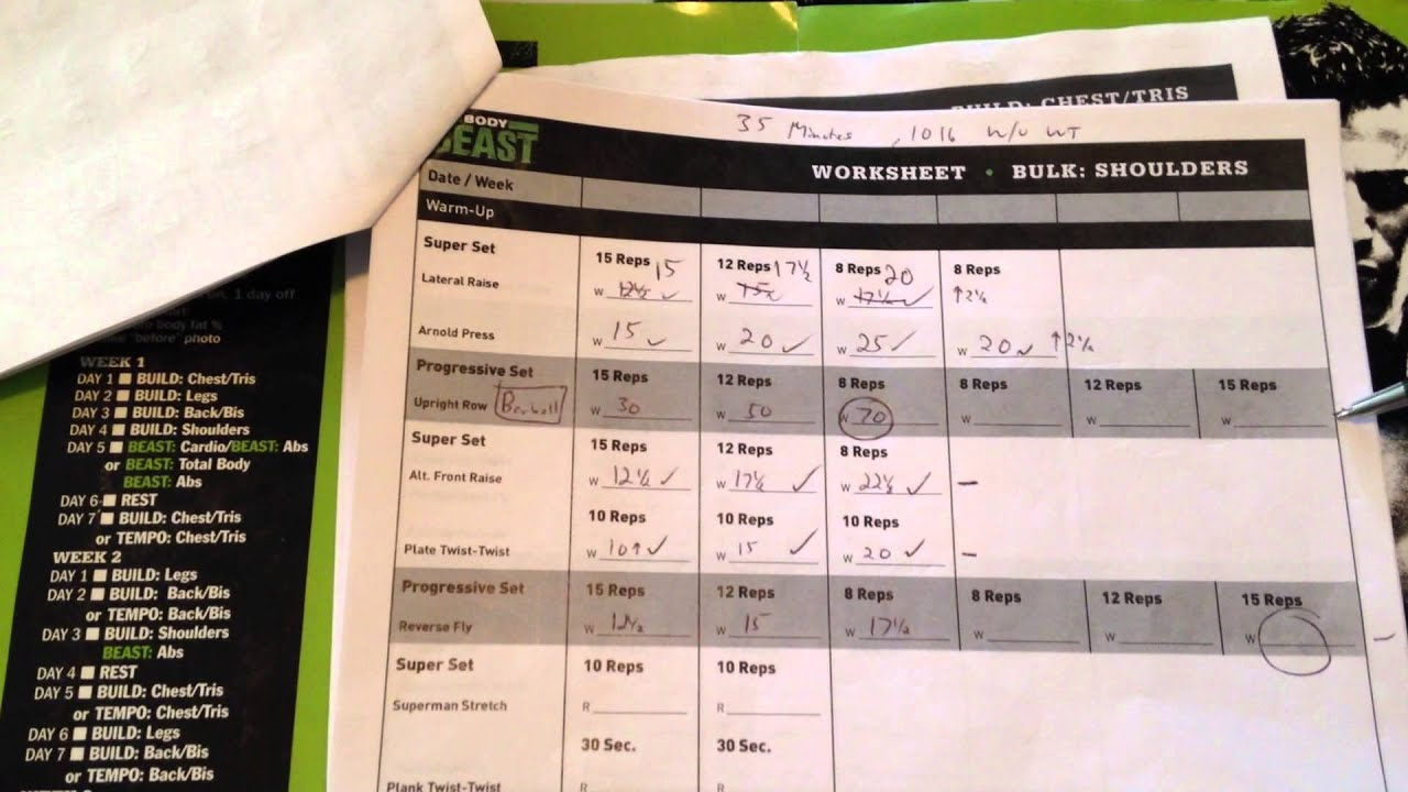 Using The Workout Sheets With Body Beast Beachbody Bulk Phase