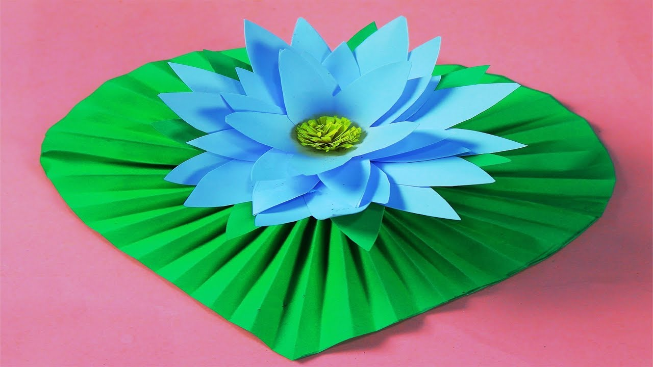 How to make water lily paper flower | Easy origami flowers for ... | 720x1280