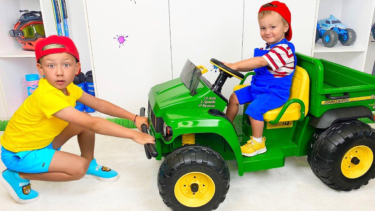 Сеня и Ники НЕ поделили мини Трактор