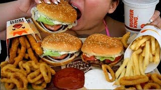 ASMR BURGER KING FEAST, WHOPPER, CHICKEN FRIES, FRENCH FRIES EATING SOUNDS PINK ASMR