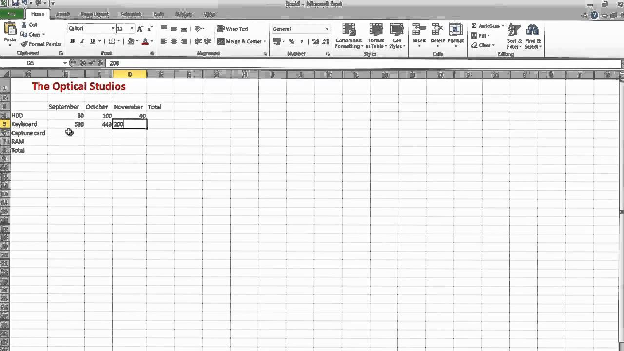 How to make a simple spreadsheet on Excel 2010 (Business