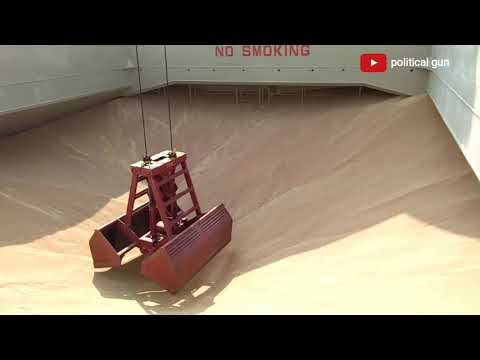Grain cargo unloading by ship crane  | cargo unloading by ship crane