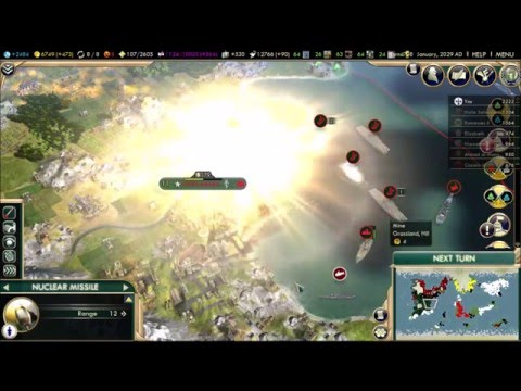 Civ 5 - Portugal: Late Game Invasion with Nukes! |