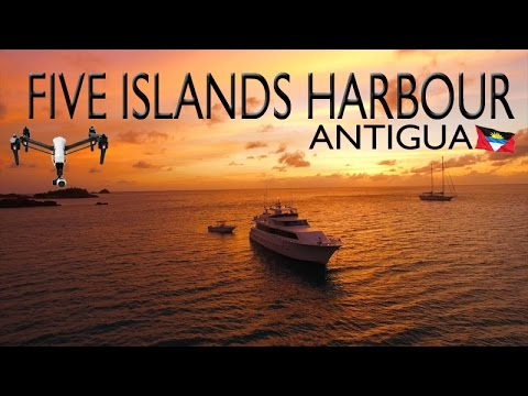 Five Islands Harbour ~ Hermitage Bay ~ Antigua Barbuda ~ Epic UAV Drone Sunset ~ WeBeYachting.com
