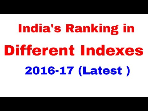India's Ranking in Different Indexes 2016-17  [In Hindi]