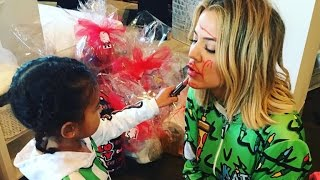 North West Gives Khloe Kardashian a Christmas Makeover In Hilarious Pics!