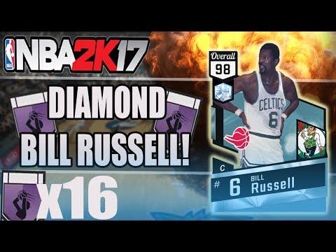 NBA 2K17 MYTEAM - DIAMOND BILL RUSSELL! 16 HOF BADGES!?! | DIAMOND BILL RUSSELL GAMEPLAY!!