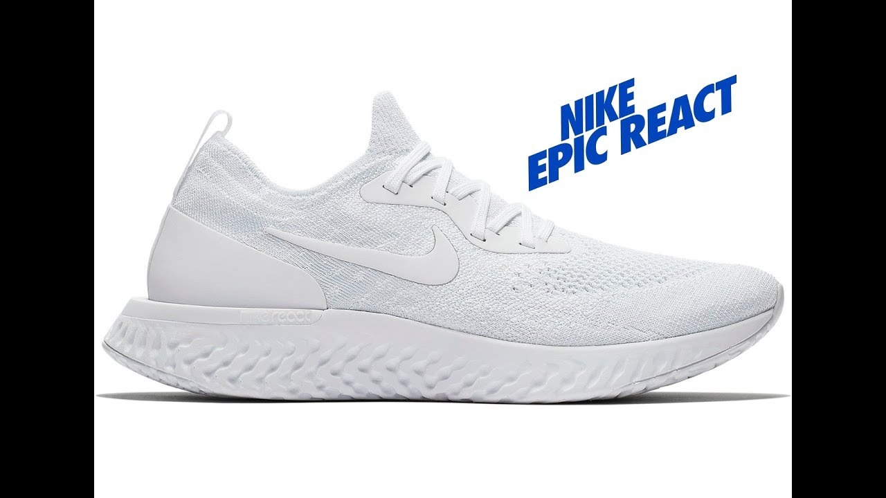 154868d415cd83 NIKE Womens Epic React Flyknit True White White Pure Platinum - YouTube