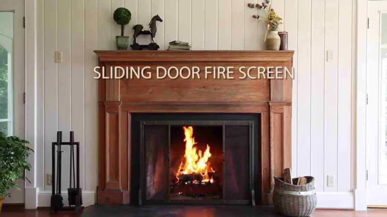 Riveted Fireplace Screen With Sliding Door And Tool Set