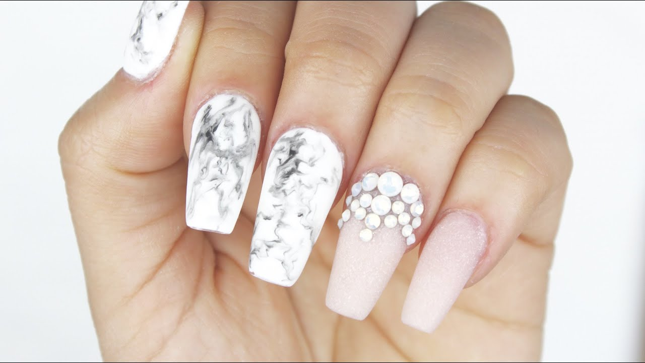 HOW TO: Gel Marble Nails ♥ - YouTube
