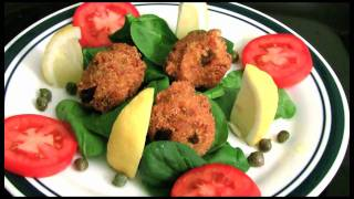Crawfish Fitters on Basil with Tomato Basil & Capers