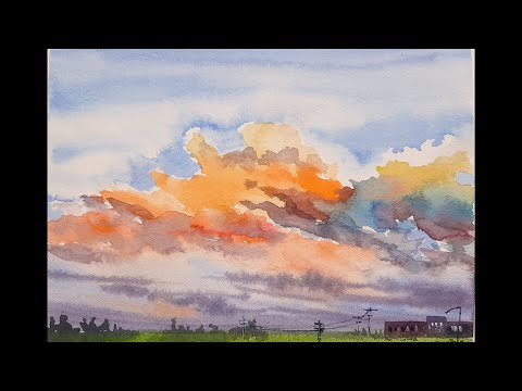 Easy watercolor cloudy sky landscape painting | For beginners