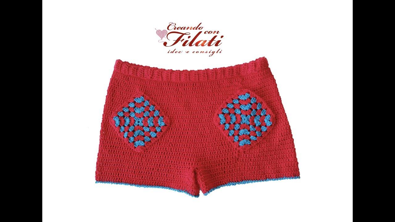 """short/pantaloncino """"Ambra"""" tutorial uncinetto/crochet 💕Creando con i filati 💕"""