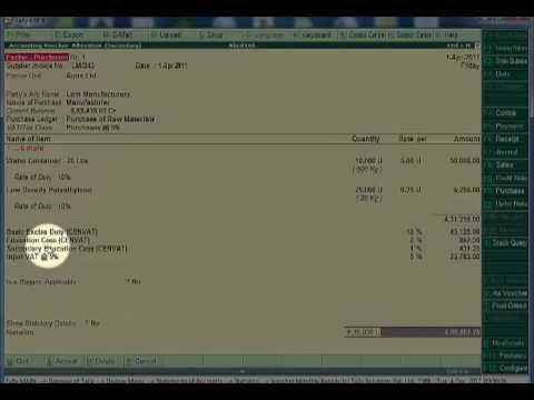 Purchase invoice with excise duty in tally erp9