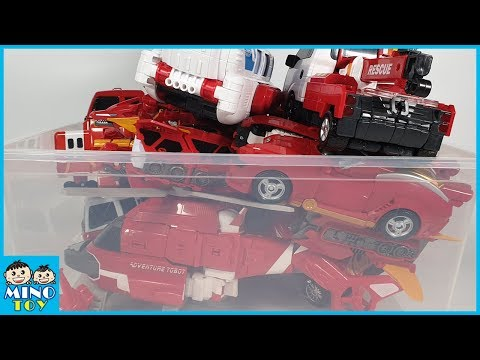 Hello Carbot, Tobot, Miniforce and Transformers red vehicles transform to robots!