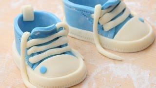 пинетки из мастики для детского тортика. МК. booties putty