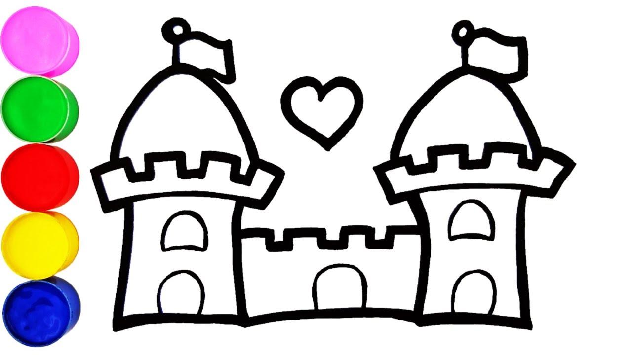Prinzessin Schloss Zeichnen und Malen für Kinder Farben Lernen auf Deutsch