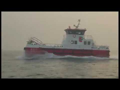 Sea trial for Aurora 20 m wind farm service vessel  Dalian  China