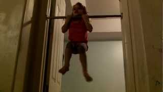 Super Abigail 3 year old does pullovers and chin ups