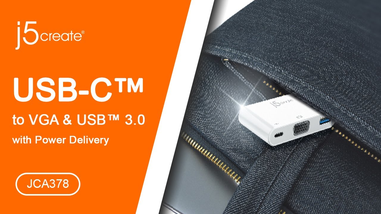 j5create® USB Type-C™ to VGA & USB™ 3 0 with Power Delivery JCA378