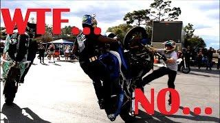 MOTORCYCLE MOSH PIT!  BIKES COLLIDE!!! WHEELIE CRASH!