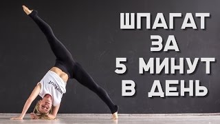 Как сесть на шпагат за 5 минут? Комплекс упражнений [Workout | Будь в форме](Подпишись на канал - https://goo.gl/B4Yjz9 Ты давно хочешь сесть на шпагат? Выполняй наш комплекс упражнений, и твоя..., 2016-06-20T12:06:47.000Z)